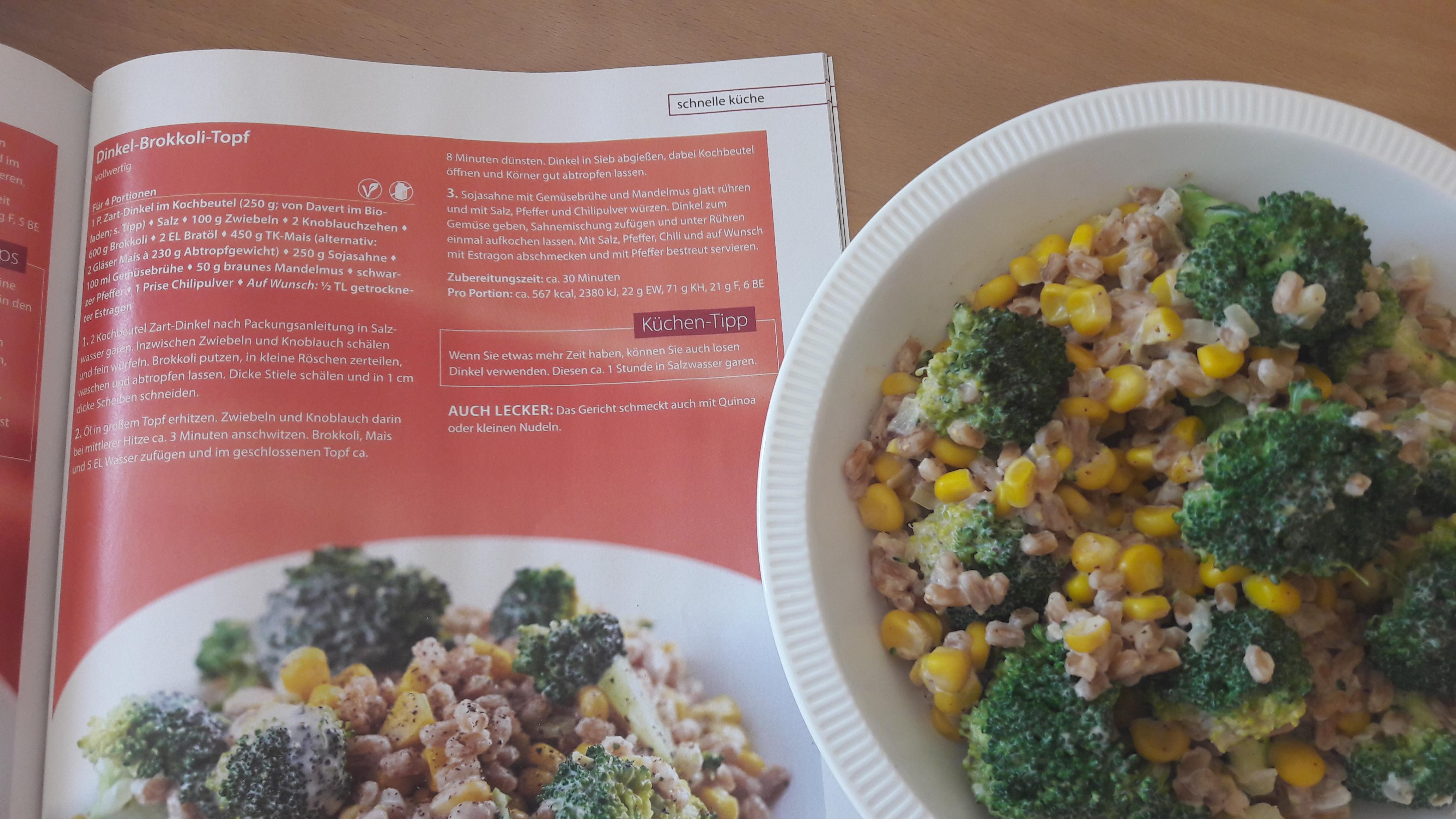 Schnelle vollwertige Küche, für Sie nachgekocht: Super-leckerer Bio-Dinkel-Brokkoli-Topf